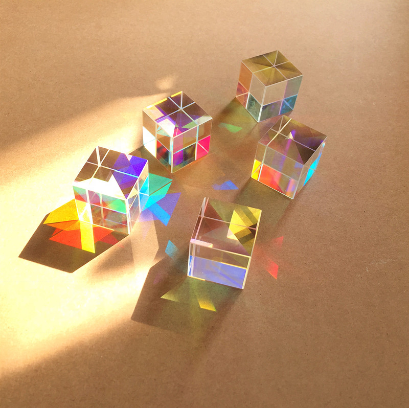 Clear Optical Glass 18mm Cube Prism Cross Dichroic X-cube Prisms