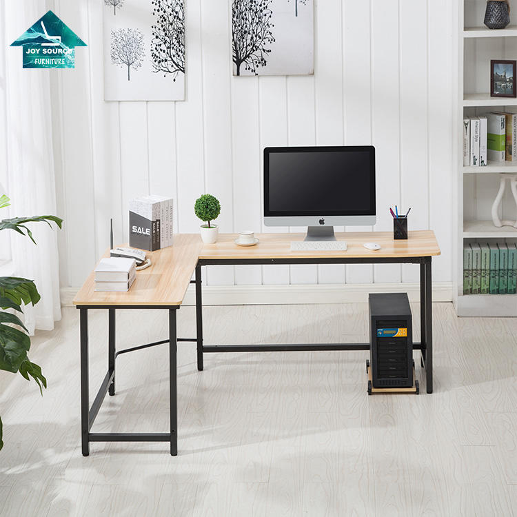 L shaped computer desk office desk modern writing table desk with metal legs