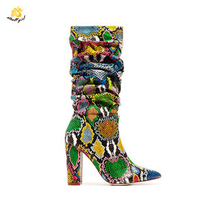 Infinite Stroll Girl X1904001Block Heel Snake Print Cowboy Custom Long Shoes For Ladies Thigh High Snakeskin Boots Women Botas