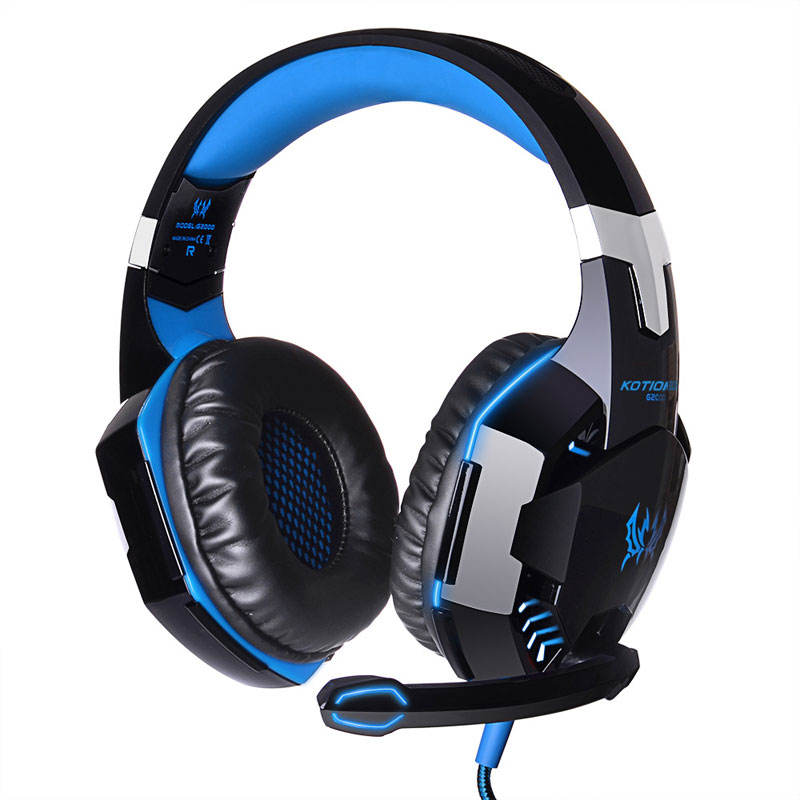 Game Headphone With Mic LED Light Computer Earphone Over Ear Wired Headset Kotion EACH G2000