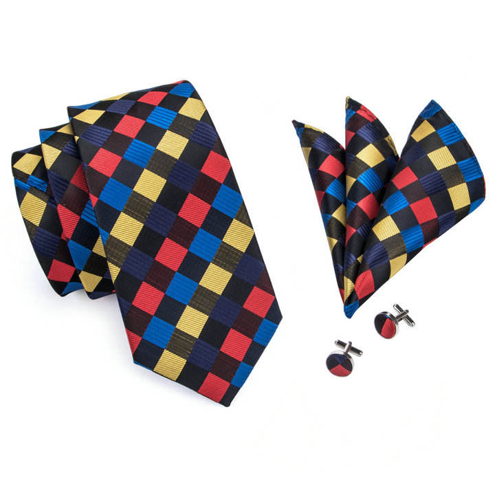 Novelty Checked Woven Silk Tie Custom Logo for Accessories Men