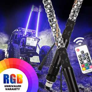 Remote Control Antenna Whips Lamp Accessories RGB 360 Degree Spiral LED Whip Lights for UTV Off- Road Vehicle ATV