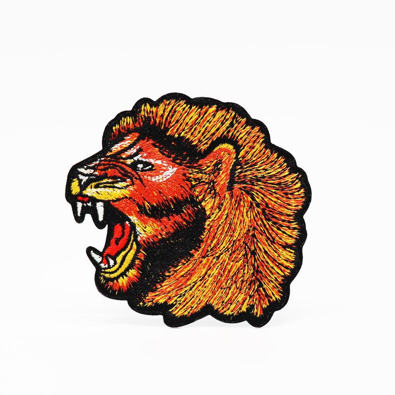 Neue design custom lion logo bestickt patch für eisen auf sichern