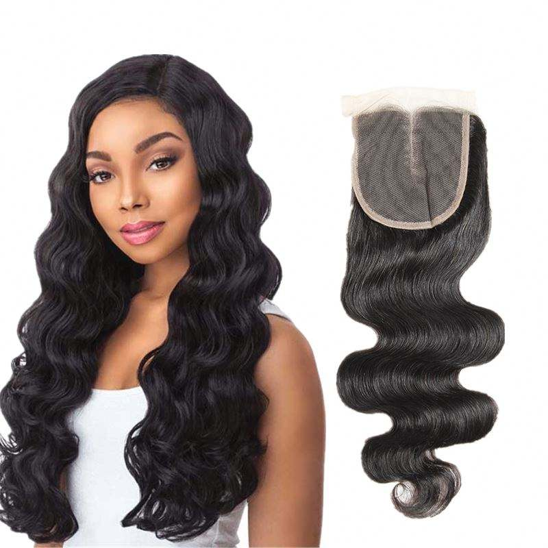 Wendy double drawn indian temple hair silk top closure human hair lace closure