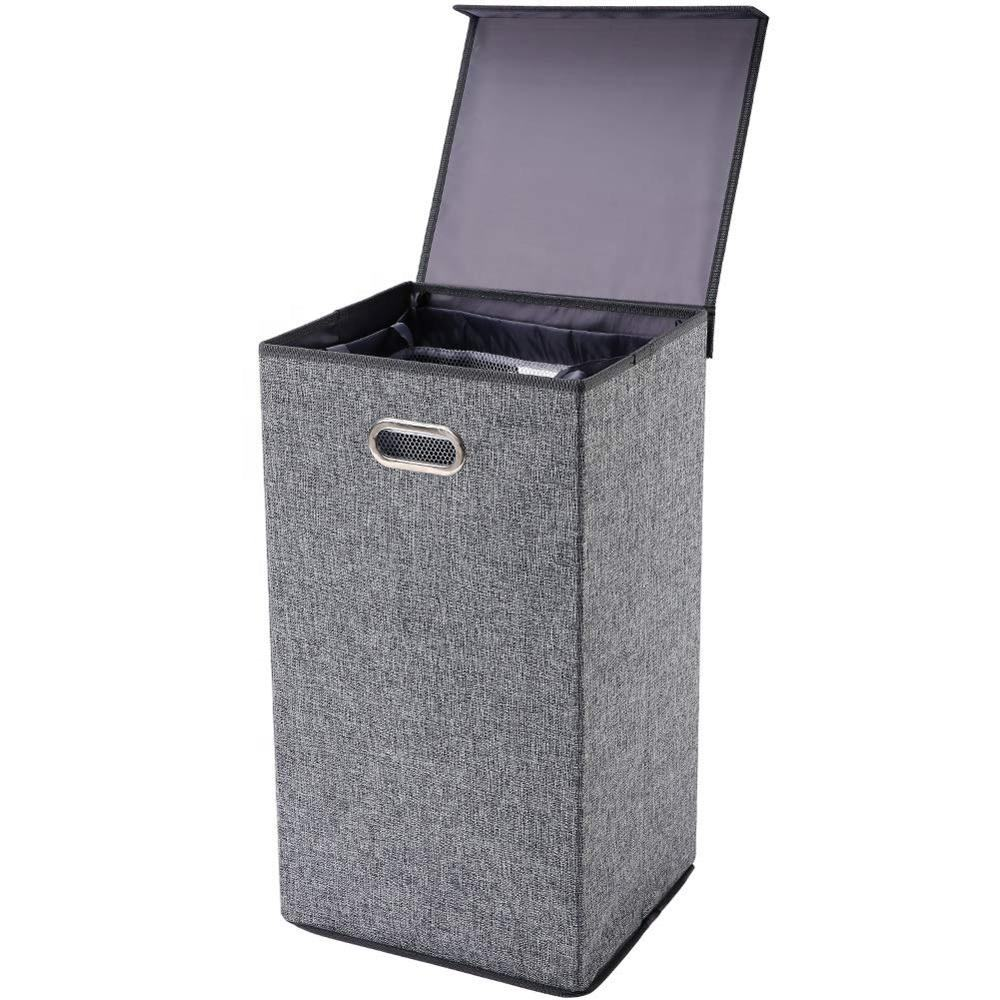 Hot Selling Custom Design Large Capacity Gray Metal handle With cover High capacity Collapsible Clothes Laundry Basket