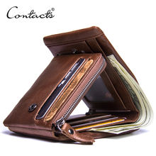Contact's 2019 Factory Wholesale Crazy Horse Leather Trifold RFID Blocking Zipper Pocket Genuine Leather Coin Card Men Purse