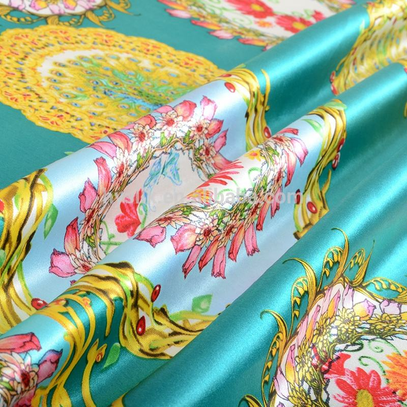 C2074floral wholesale yarn best selling screen prints dyeing100% printed pure satin silk fabric
