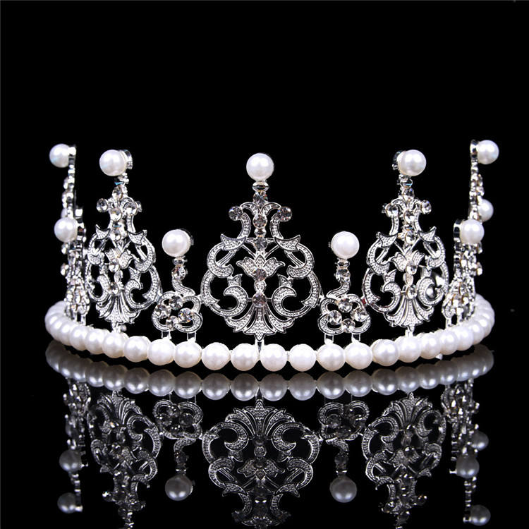 Wholesale Cheap Fashion Shiny Pearls and Rhinestones Birthday Tiaras for Girls