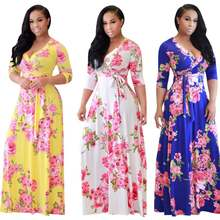 2019 New Fashion African Women Clothes Long Floral Printed Dress