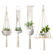 Macrame Plant Hangers Hanging Plant Shelf Indoor Wall Planter Decorative Flower Pot Holder Boho Home Decor, Set of 4
