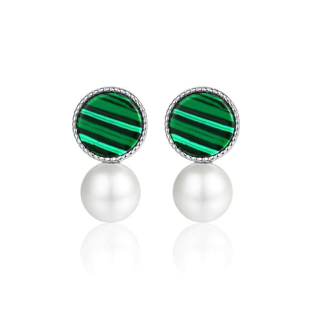CZCITY Real 925 Sterling Silver Malachite Stud Earrings for Women Fine Jewelry Simulated Pearl