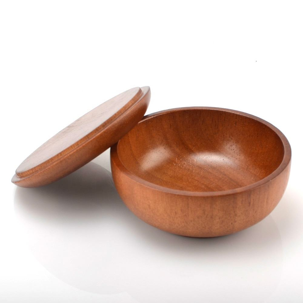Wholesale custom oak wood 100% natural long- l asting eco-friend snack ramen round with cap soup salad bowl