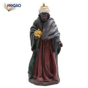 handmade esculpida hot novo produto polyresin preto homem handmade OEM religiosa estatuetas de resina para a natividade conjunto