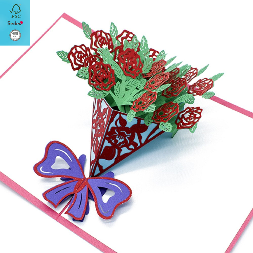 Well Crafted Rose Bouquet 3D Pop Up Card, Flower Romance Card for Her
