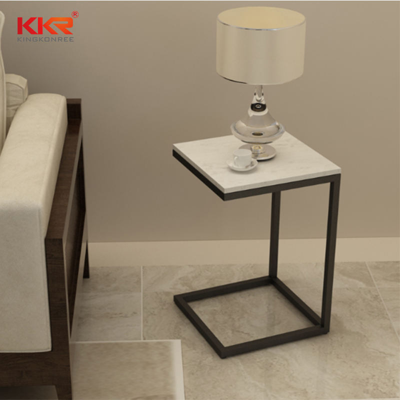 Solid surface stone fancy luxury end table, popular french hotel side table for bed