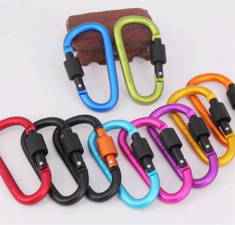 Colorful d-type mountaineering with screw lock nut carabiner
