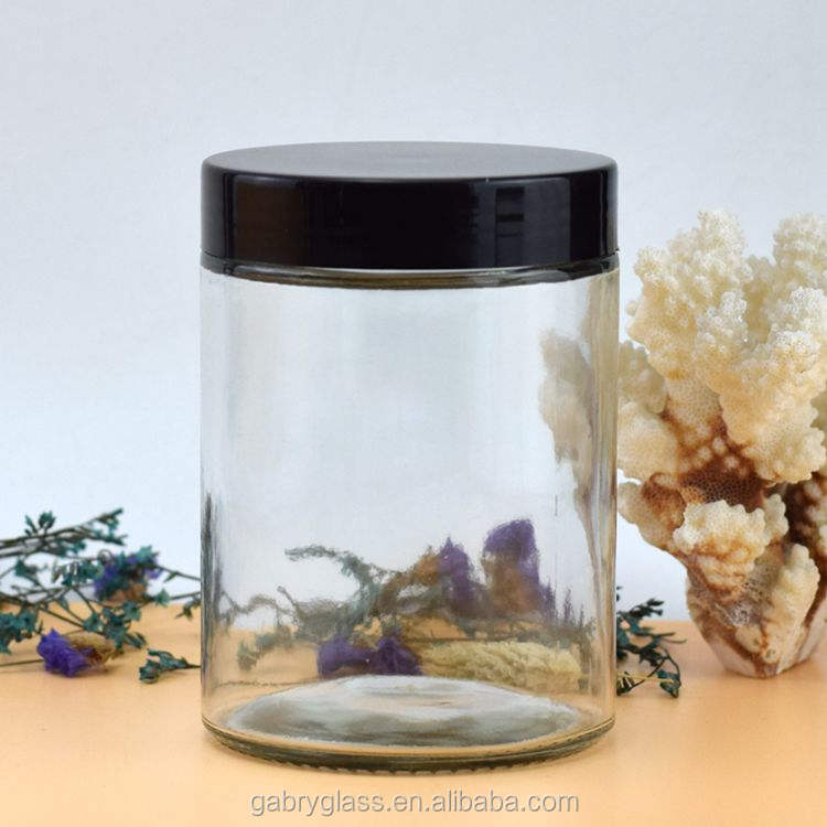 60ml 100ml 300ml 360ml 400ml 500ml 750ml Wide Mouth Straight Sided Glass Jars with Black Plastic lid