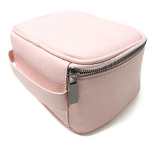 Customized portable travel pu leather zipper cosmetic bag