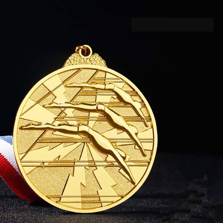 Custom make swimming competition awards gold silver copper sports prize medal with ribbon