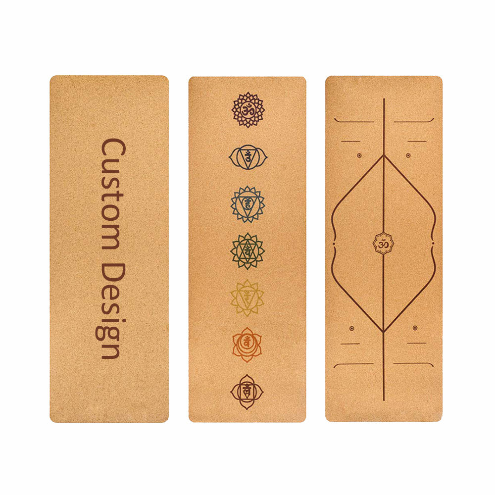 High quality fitness nature printed wooden jute design cork yoga mat