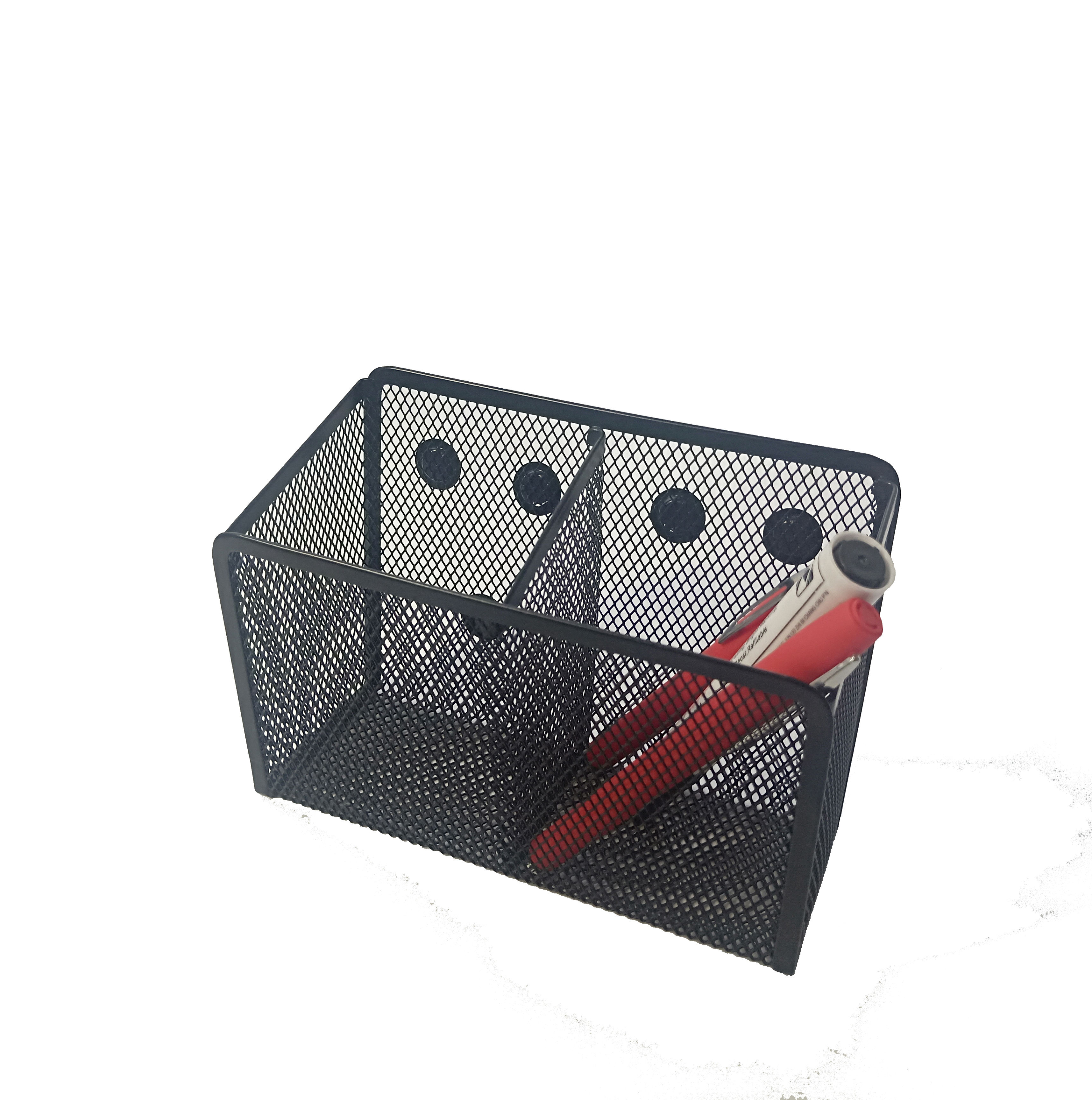 Office Supply 2 Generous Compartments Metal Mesh Magnetic Pencil Holder Storage Basket Organizer