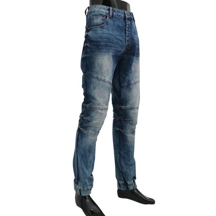 Venta al por mayor ropa de calidad pantalones denim para hombre de cintura alta vintage azul cáñamo casual bolsillo recto jeans