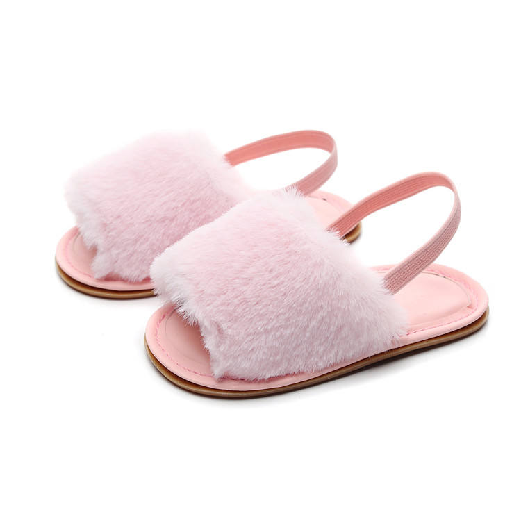 2019 Infant Baby Sandals Slippers Faux Fur Baby Summer Shoes Hard Sole Toddler Girls Boys Sandals