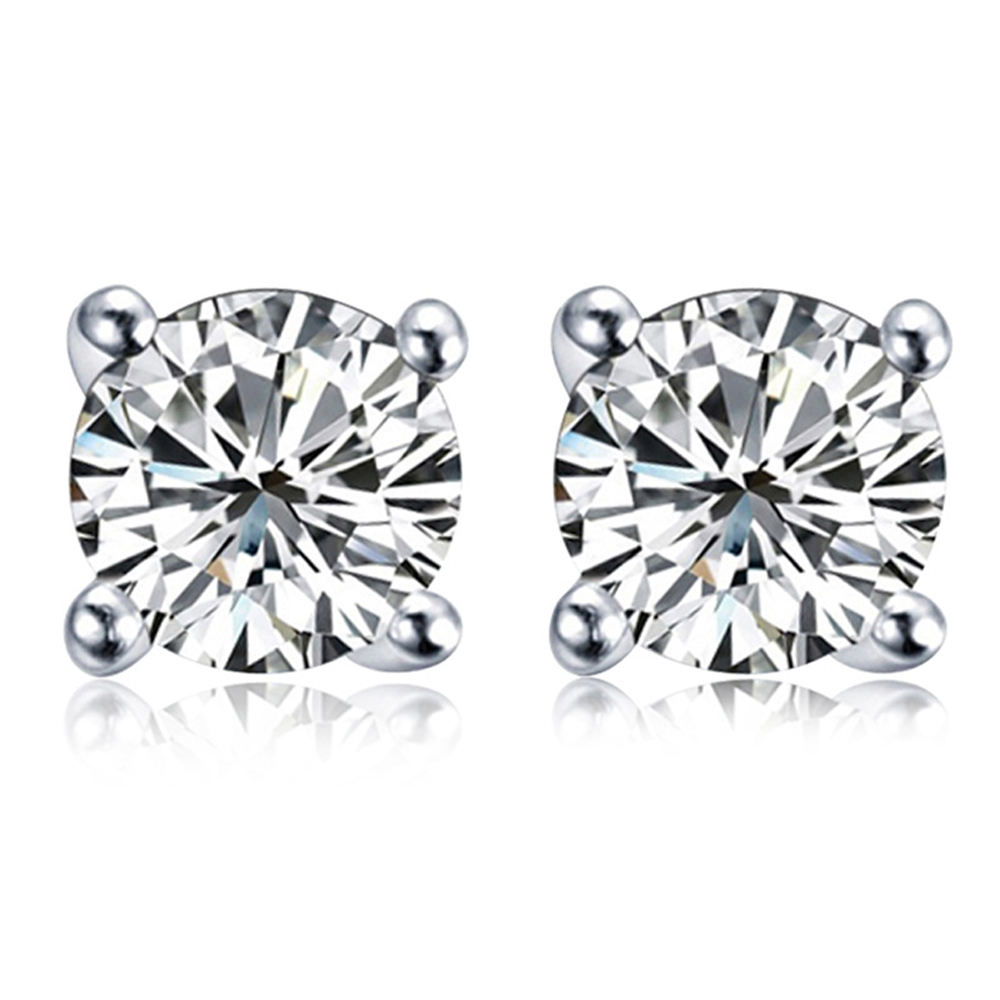 multi sizes 4 prongs round cubic zirconia sterling silver stone earring