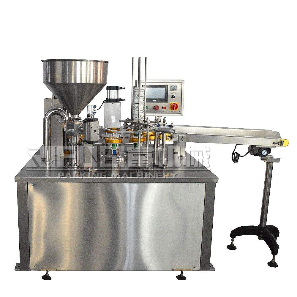 Disposable Rotary Hummus Ice Cream Juice Yogurt Cups Packing Equipment Plastic Cup filling sealing machine