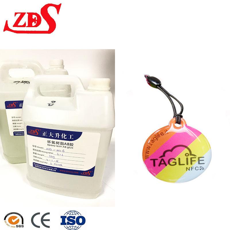 Precios directos de fábrica tipo flexible 2 componentes agua cristalina AB pegamento líquido resina epoxi para etiqueta doming