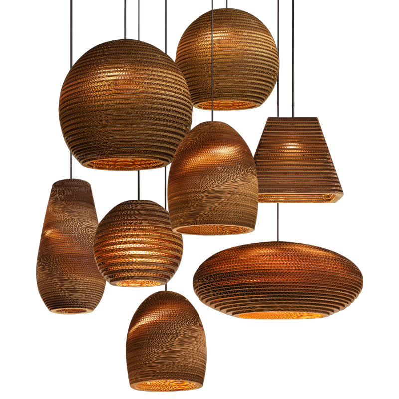 Popular Pendant Lamp Corrugated Paper Material High Quality Light Energy Saving Chandelier Modern