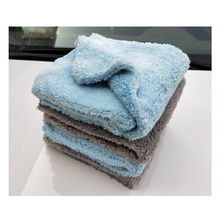 Gray Blue Soft Cleaning Cloth Plush 16x16 500gsm Edgeless Microfiber Towel For Car Wash Auto Detailing Polishing Drying Wash