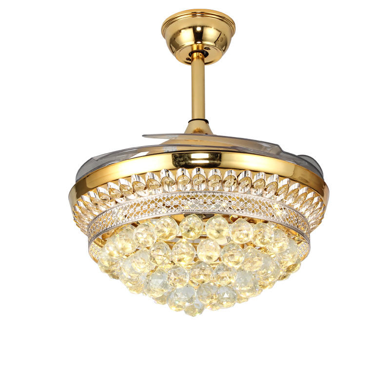 Gold high quality crystal invisible blade ceiling fan light remote control for home fan light