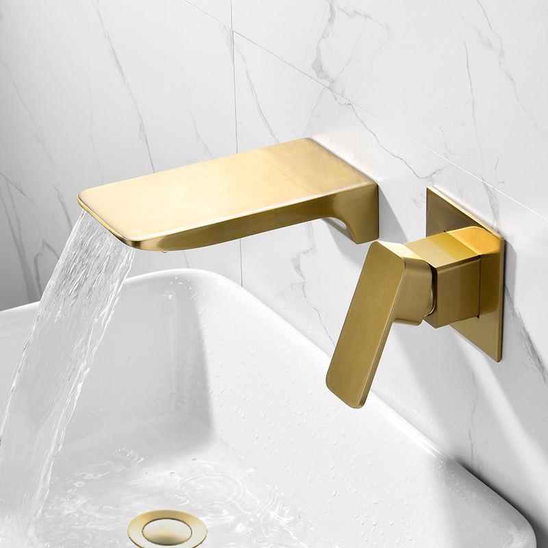 Brushed gold Wall mounted waterfall basin faucet with drain