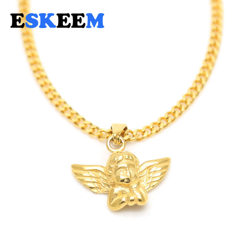 Fashion Hot Selling Hiphop Jewelry 18k Gold Vacuum Plated Stainless Steel Thinking Little Angel Pendant Necklace