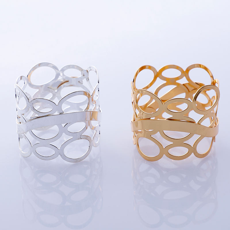 Wholesale Handmade Gold Wire Round Mesh Napkin Rings For Wedding And Dinners Tableware Napkin Holder@