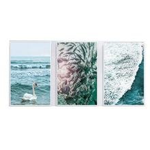 Swan Blue Ocean Fish Wall Art Decor Poster 3 Panel Home Hotel  Print on Canvas