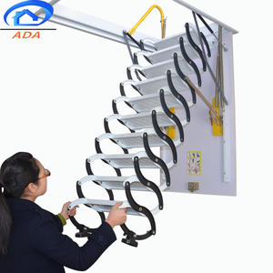 2019 new model electric telescopic folding ladder metal handrail Carbon Steel Attic Stairs