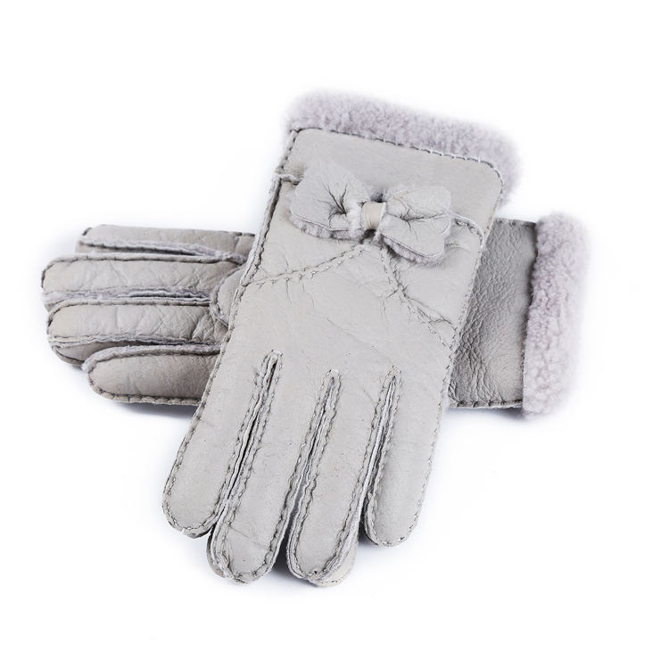 Women's Rugged Shearling Sheepskin Leather Driving Black Winter Snow Gloves Cute Bow
