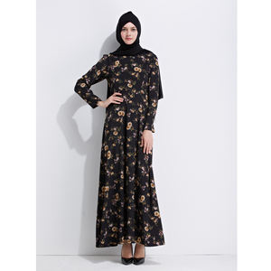 Wholesale Middle Easthic Design Chiffon Floral Embroidery Muslim Turkish Ladies Clothes Islamic Abaya Turkey Long Evening Abaya
