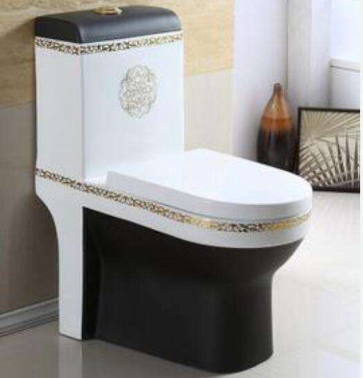 One Piece Ceramic Sanitary Ware Golden Black Color Toilet Seat