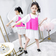 Summer new fashion girls' clothing sets children's cotton white-shirt dress with jean waistcoat