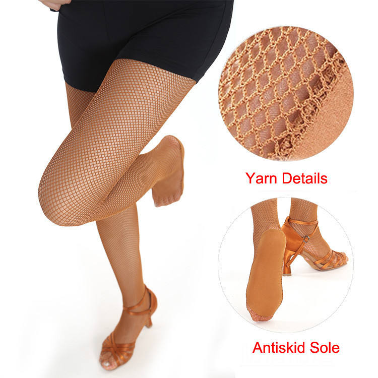Wholesale High Quality Professional Latin Ballroom Dance Tan Fishnet Tights