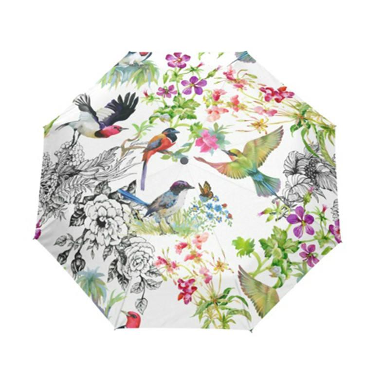 Aquarelle Fleur Oiseau Art Fille Imprimer Pluie Voyage Pliant Parapluie pour Cadeau De Dame