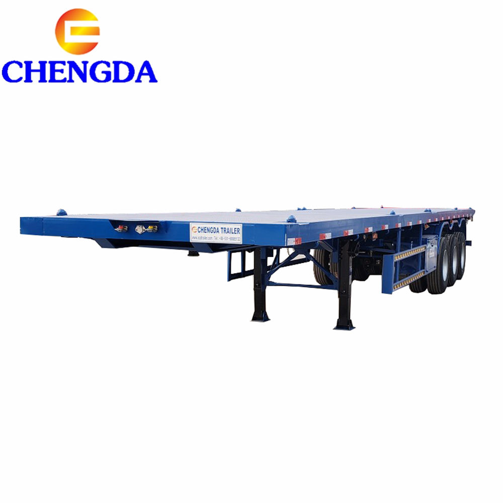 Best price Factory Sale 2 axle s Tri-axle 20ft 40 feet 40ton container semi flat bed flatbed trailer with container lock