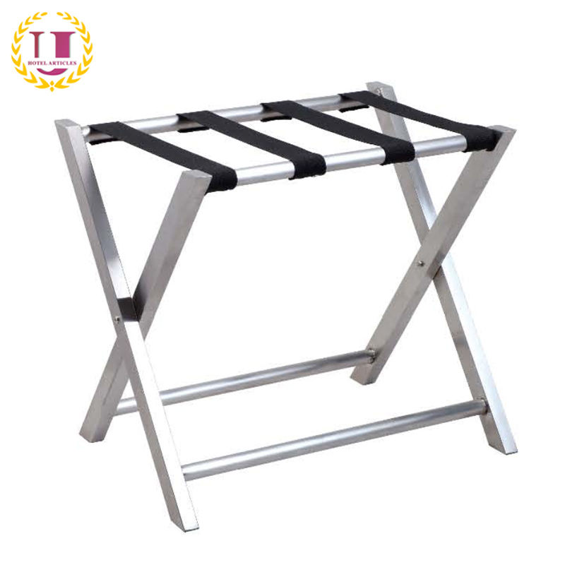 Bedroom Folding Metal Luggage Rack With 4 Straps
