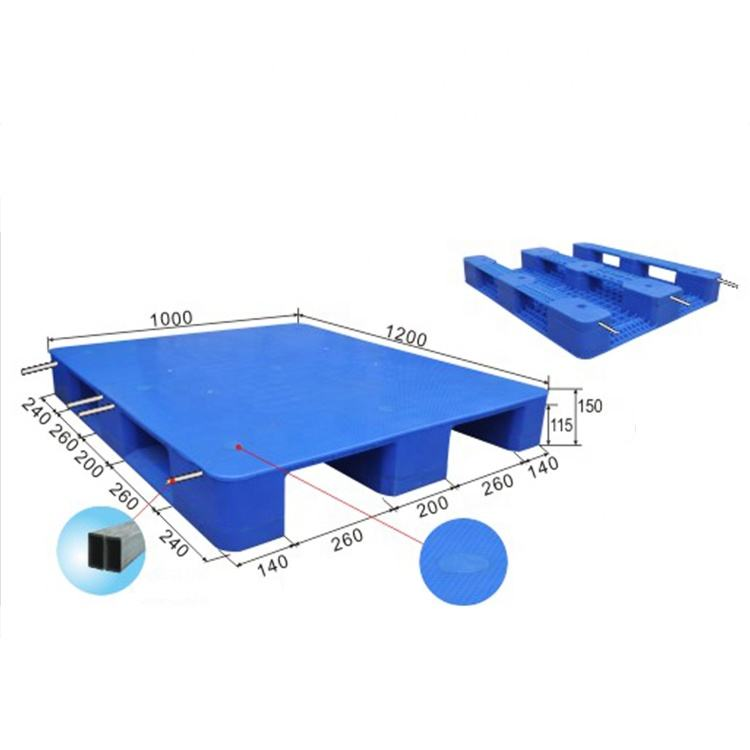 1200*1000 HDPE pallet 3 Skids Runners Transport Single Faced Plastic Warehouse Heavy Duty