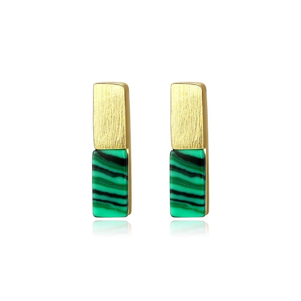 CZCITY 2019 New Fashion 925 Sterling Silver Gold / Silver Color Malachite Bar Stud Earrings
