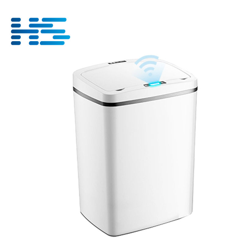 Small plastic waste bins with sensor lid cover white unique trash can smart