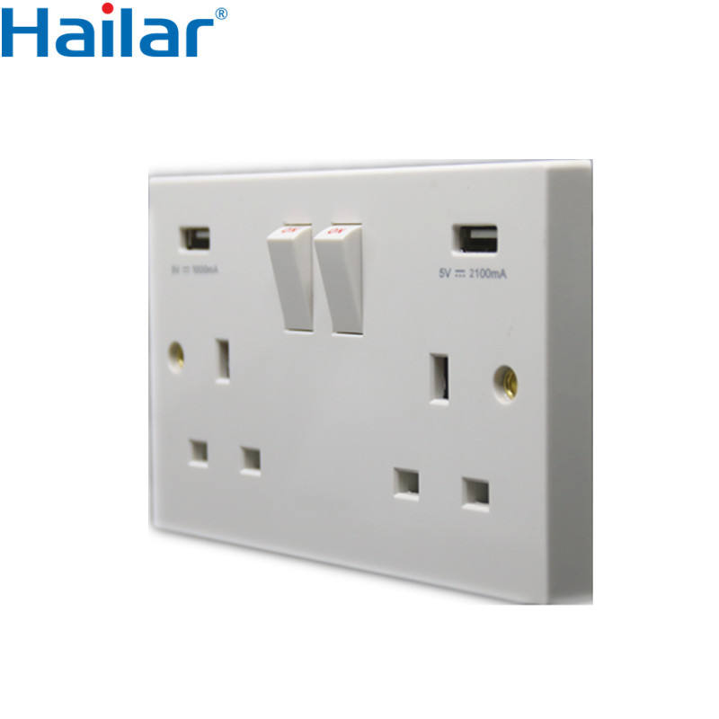 Hailar oem electrical manufacturers custom switched 2 gang uk usb switch socket outlets british